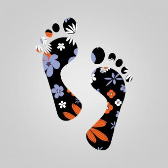 Free Stock Photo of Illustration of Footprints with Plants and Flowers