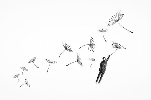 Free Stock Photo of Freedom Concept - Hand Drawn - Man Flying with Flowers in the Wind