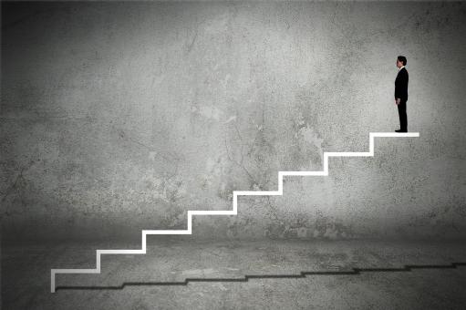 Free Stock Photo of Businessman on Virtual Staircase - Success - Career