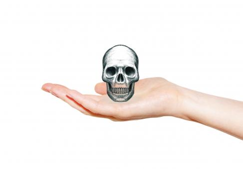 Free Stock Photo of Skull on Open Palm - Pencil Drawing - Death Concept