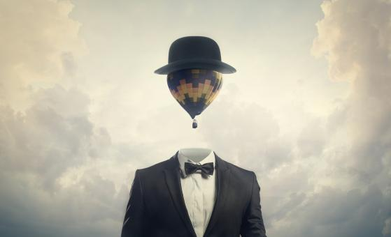 Free Stock Photo of Head in the Clouds - Businessman with Hot Air Balloon for a Head