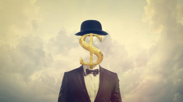 Free Stock Photo of Greed Concept - Businessman with Dollar Sign for a Head