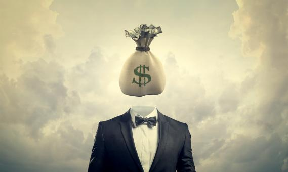 Free Stock Photo of Greed Concept - Businessman with Bag of Money for a Head