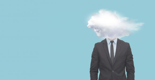 Free Stock Photo of Head of Businessman Surrounded by Clouds - With Copyspace
