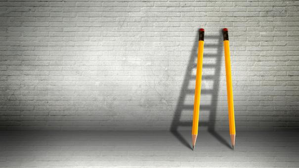 Free Stock Photo of Pencils Against a Wall Forming Ladder