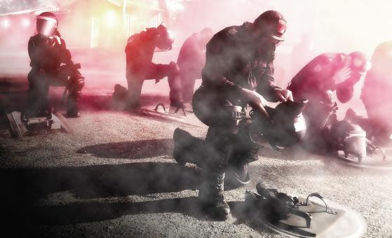 Free Stock Photo of Civil Unrest - Police - Riot - Attack - Gas Mask