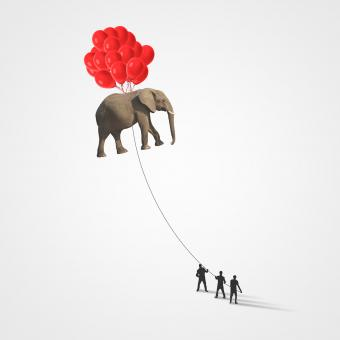 Free Stock Photo of People Lifting Elephant with Balloons - Teamwork Concept