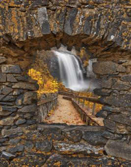 Free Stock Photo of Autumn Window Fantasy Falls