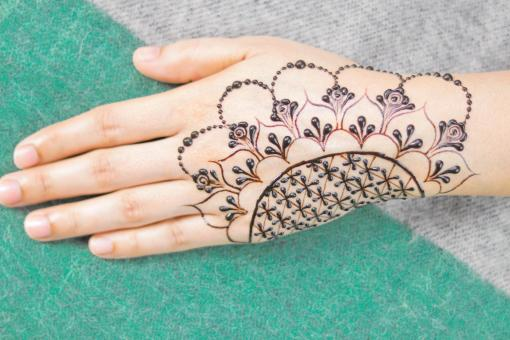 Free Stock Photo of Beautiful Henna Tattoo Design - Close Up
