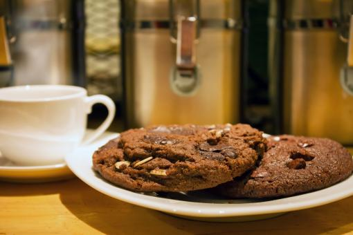 Free Stock Photo of Chocolate Chips Cookies at a Cafe