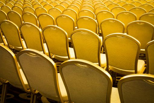 Free Stock Photo of Rows of Golden Chairs