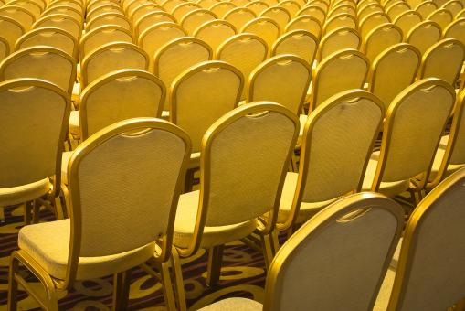 Free Stock Photo of Rows of Arranged Chairs