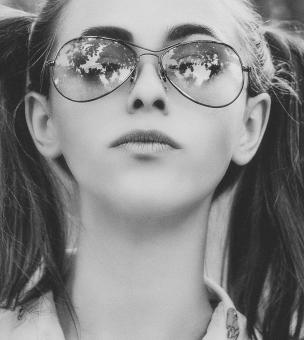 Free Stock Photo of Girl with Glasses and Pigtails - Black and White