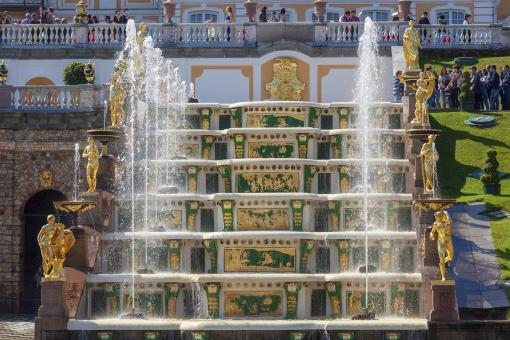 Free Stock Photo of Peterhof Palace Golden Fountain