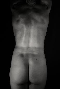 Free Stock Photo of Male Naked Backside - Monochrome