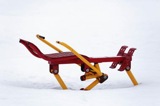 Free Stock Photo of Snow covered exercise equipment