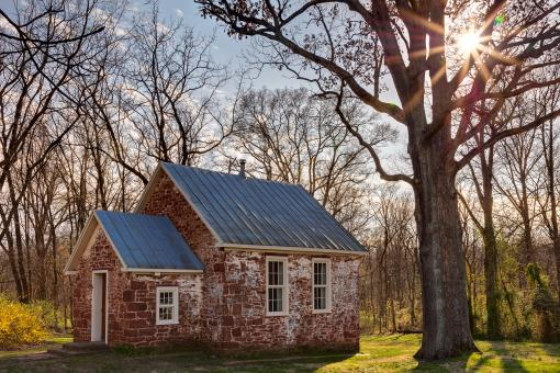 Free Stock Photo of Seneca Schoolhouse Sunburst