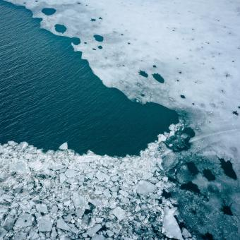 Free Stock Photo of Glacier Lagoon with icebergs from above