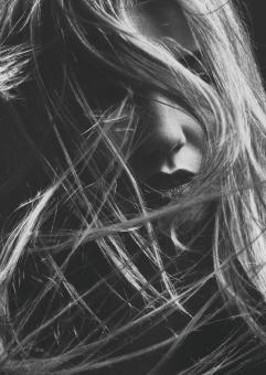 Free Stock Photo of Messy Hair - Black and White Female Portrait