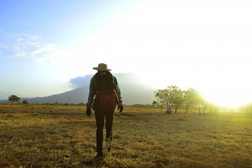 Free Stock Photo of A backpacker explores Baluran National Park