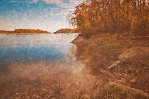 Free Stock Photo of Autumn Susquehanna River - Vintage Velvet