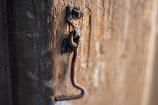 Free Stock Photo of A little old rusted door hook