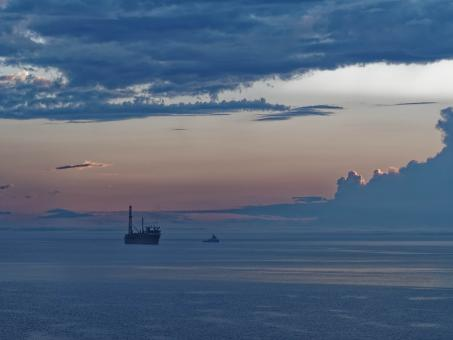 Free Stock Photo of FPSO at Sunset