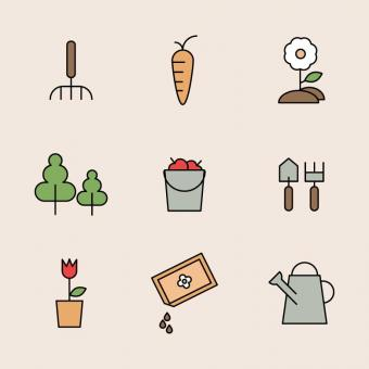 Free Stock Photo of Outlined Gardening Icons