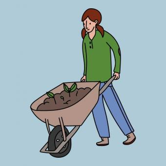 Free Stock Photo of Girl With a Gardening Wheelbarrow