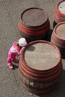 Free Stock Photo of Child leaning on barrel