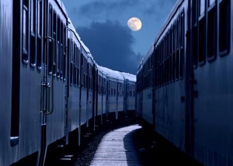Free Stock Photo of Night Travel by Train