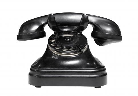 Free Stock Photo of Old Black Telephone