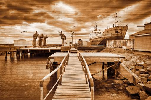 Free Stock Photo of Sepia Shipyard Lines - Akranes
