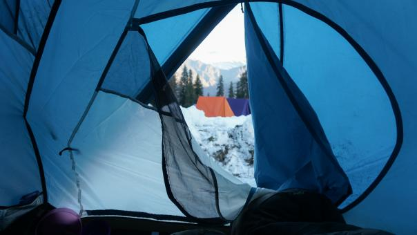 Free Stock Photo of Camping In The Snow - Inside a Tent