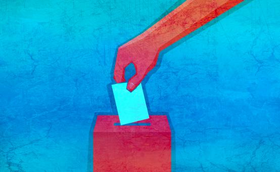Free Stock Photo of Voting Illustration - Hand Holding Ballot with Ballot Box