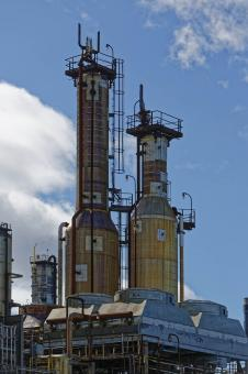Free Stock Photo of Two industrial towers