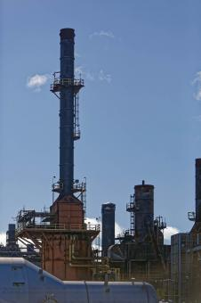 Free Stock Photo of Large stack at refinery