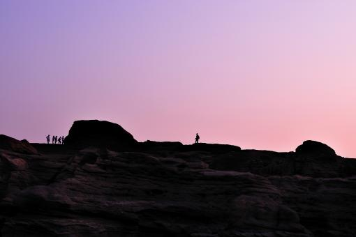 Free Stock Photo of Silhouette of photographer taking picture of landscape