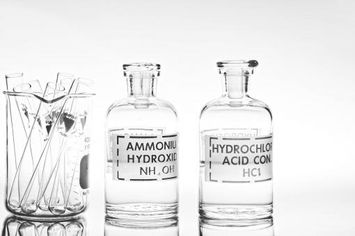 Free Stock Photo of Chemical glassware - bottles and test tubes