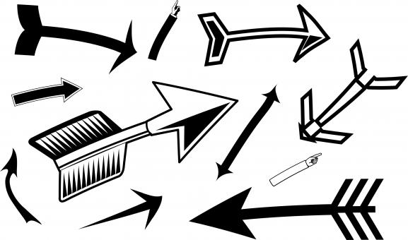 Free Stock Photo of Black Mixed Arrows Clipart Set