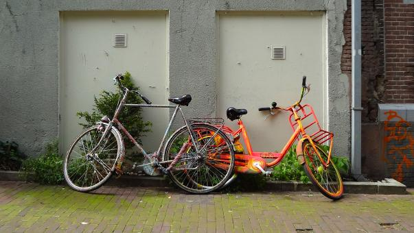 Free Stock Photo of Two colorful bikes