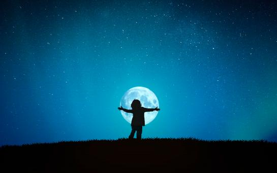 Free Stock Photo of Little Child Hugging the Moon - Child Embracing the Moon