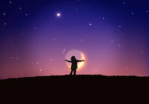 Free Stock Photo of Little Child Hugging the Moon
