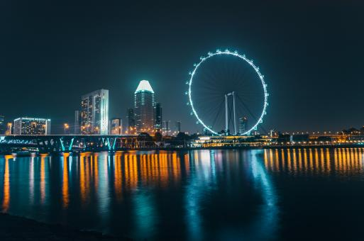 Free Stock Photo of Singapore Skyline at Night