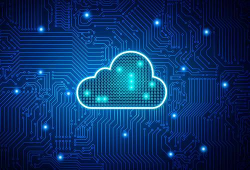 Free Stock Photo of Cloud Computing - Digital Cloud on Circuit Board