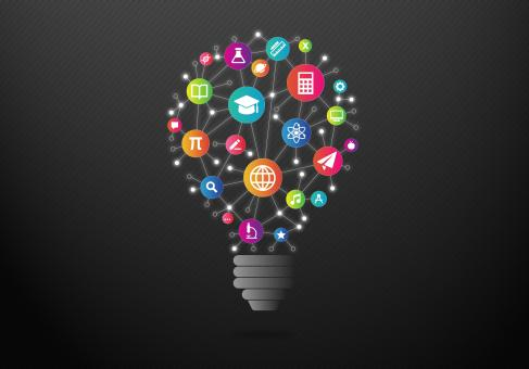 Free Stock Photo of Education and Learning Concept with Colorful Light Bulb