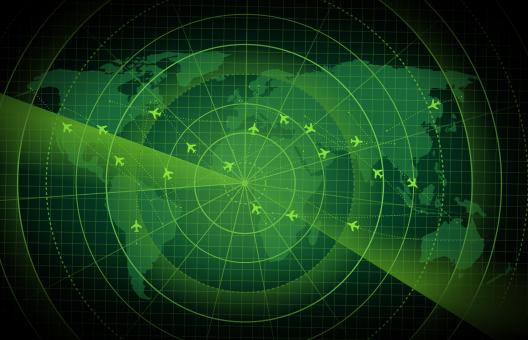 Free Stock Photo of Bright Radar Display - Airplane Traces on Target