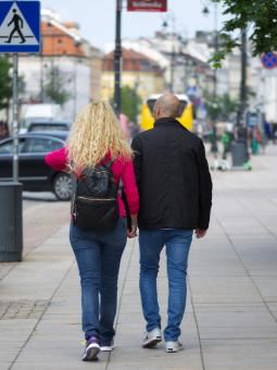 Free Stock Photo of Adult couple walking on street