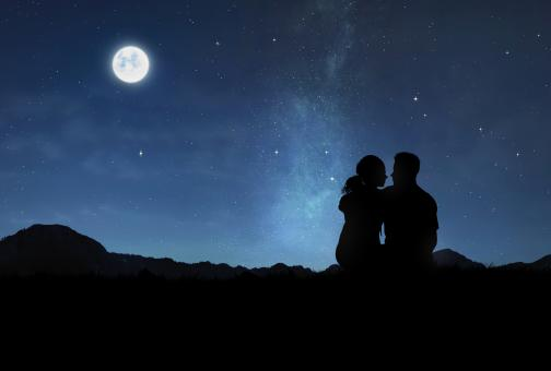 Free Stock Photo of Lovers Under the Moonlight - Romantic Couple Watching the Night