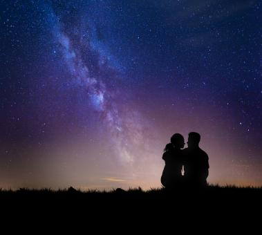 Free Stock Photo of Romantic Couple Watching the Stars - Love on the Milky Way